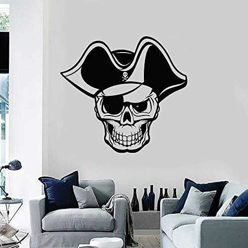 Calavera pirata tatuajes de pared tema marino niños chico chico dormitorio hombre cueva decoración del hogar vinilo pegatinas para puertas y ventanas
