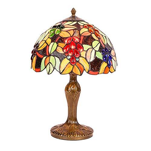 FFAN UVA Tiffany lámpara de Mesa lámpara de Escritorio de Cristal de Colores Vintage Sala de Estar mesita de Noche luz 30 * 47 CM Good Life