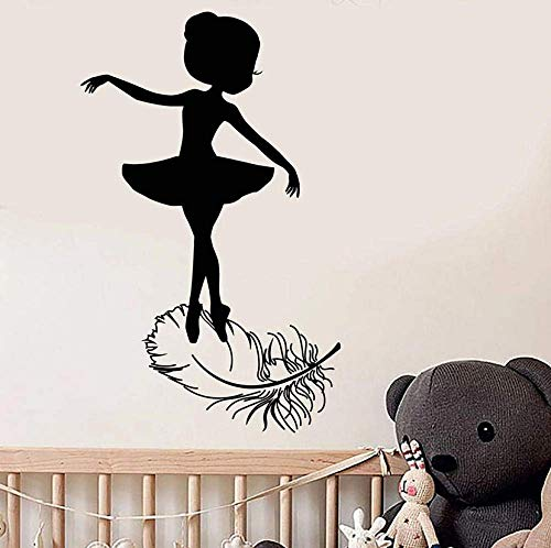Adhesivo De Pared Niña Calcomanía De Pared Bailarina Silueta Ballet Studio Dance Room Decoración Interior Bird Feather Art Vinyl Window Stickers 57X35Cm