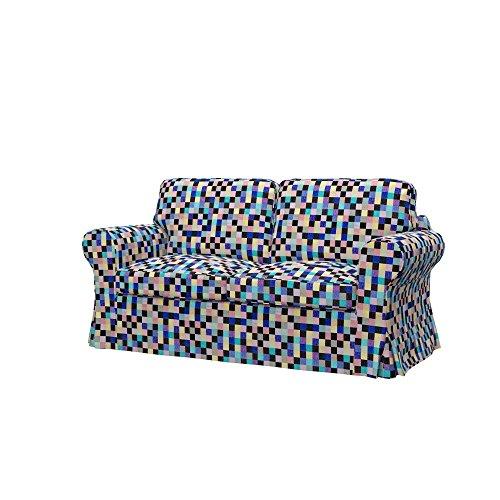 Soferia - IKEA EKTORP Funda para sofá Cama de 2 plazas, Mozaik Blue