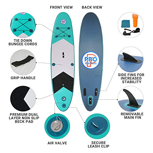 Product Image 5: Promarine Inflatable Stand Up Paddle Board Premium SUP Accessories & Backpack, Non-Slip Paddle Board, Leash, Paddle, Waterproof Backpack,Kayak Seat, Hand Pump, and Repair kit 120 Long 28 Wide 4 Thick