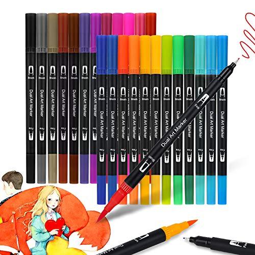 JYUYNY Pinselstifte Set Aquarellfarben Pinselstifte,Dual Brush Pens,24 Farben Pinselstifte mit Zwei Spitzen,Pine Fineliners Filzstifte,Markierungen auf Wasserbasis für Kalligraphie,Zeichnen, Manga