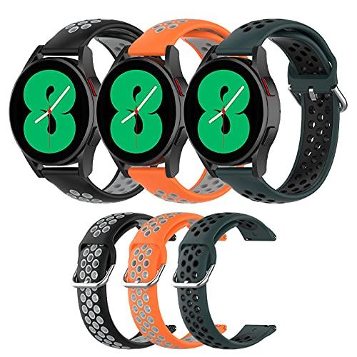 3 Colors Correa para Samsung Galaxy Watch 4/Watch 4 Classic, [3 Piezas] Pulseras para Samsung Galaxy Watch 4/Watch 4 Classic, Suave, Transpirable, Correas de Repuesto
