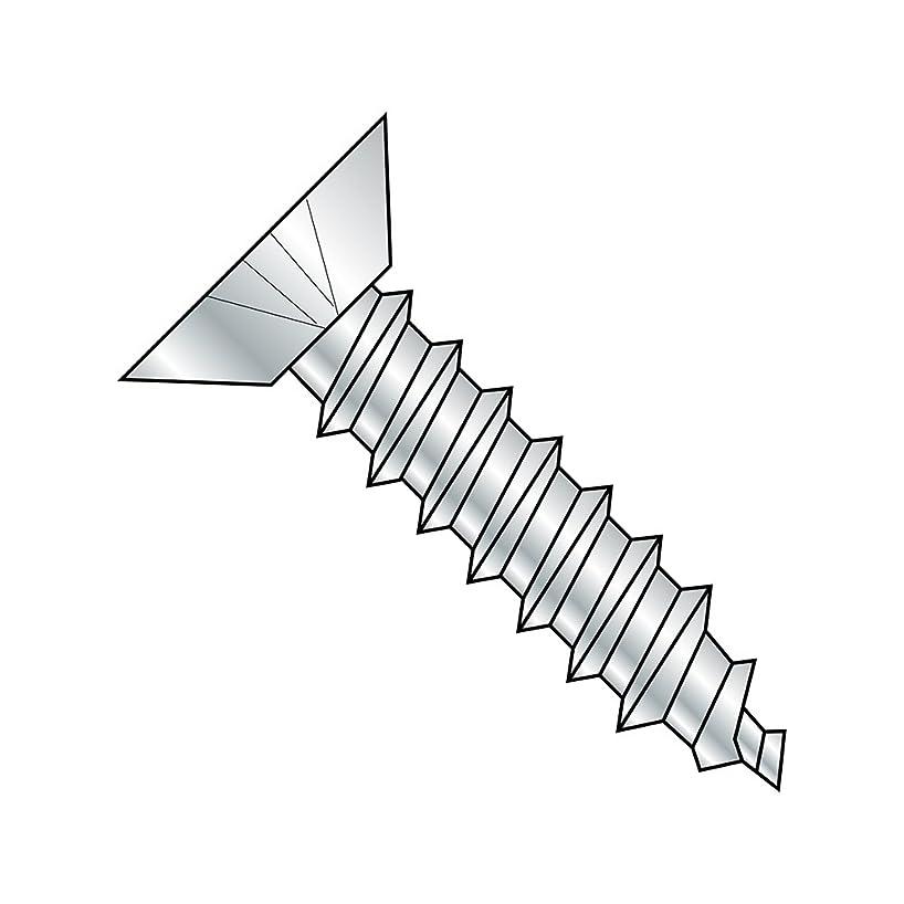 Steel Sheet Metal Screw, Zinc Plated, Undercut 82 degrees Flat Head, Phillips Drive, Type A, #14-10 Thread Size, 5/8