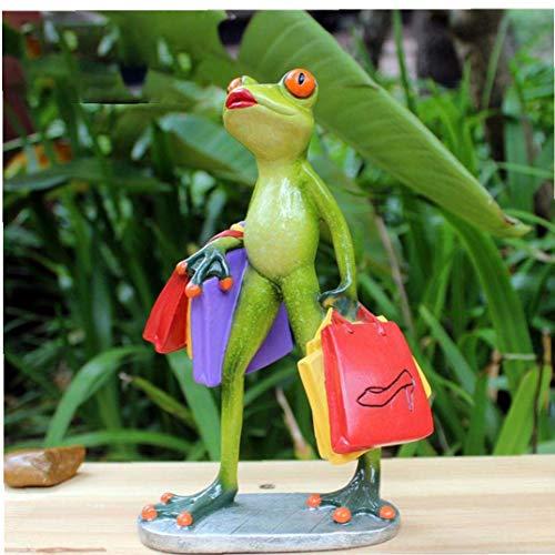 Resina Lady Frog Figurilla Coleccionables en Compras Artesanías Creativas de Animales Estatua Decoración del hogar Adorno de Oficina en casa