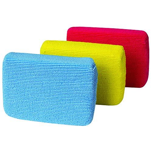 Casabella Multipurpose Non-Scratch Microfiber Cleaning Sponges, Multicolor (Pack of 3)