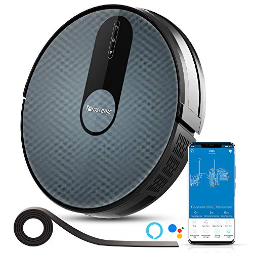 Proscenic 820S Robot Vacuum Cleaner, WiFi Connectivity, Alexa Control, Smart Mapping, Auto Boost, 1800Pa Max Suction, 600ML Large Dustbox, Self-Charging, for Pet Hairs, Hard Floors and Carpets, Blue Dining Features Home Kitchen Robotic Vacuums