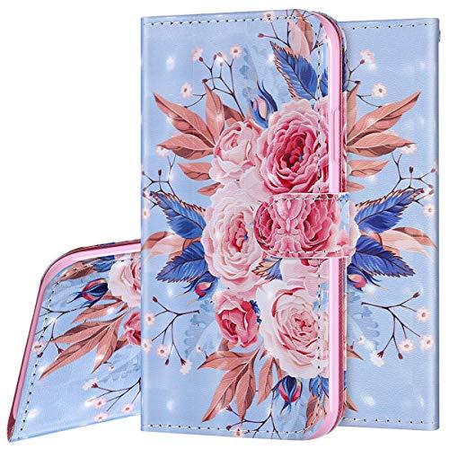 Surakey Etui Coque Xiaomi Redmi Note 7 Étui Housse en Cuir Portefeuille Coque Magnétique Flip Cover Fentes de Cartes Dessin Imprimé Pochette Coque Protection avec à Rabat Stand, Colorée Fleur