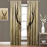 GUUVOR Antler Decor Wear-Resistant Color Curtain Whitetail Deer Fawn in Wilderness Stag Countryside Rural Hunting Theme Waterproof Fabric Curtain 42' Wide x 84' Long Brown Sand Brown