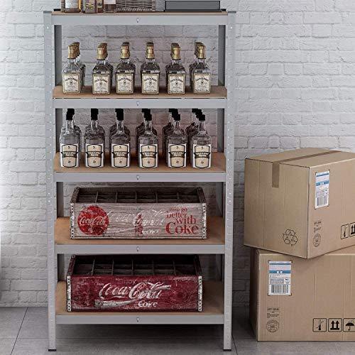 Heavy Duty 5 Tier Shelf Garage Shelving 180x 90 x 60 cm Steel & MDF Boltless Shelves 200KG Per Shelf / 1000KG