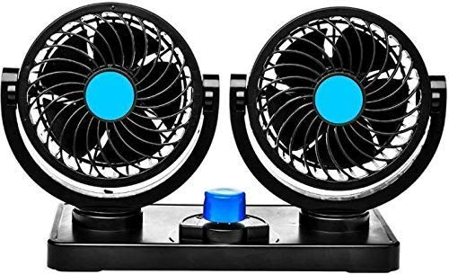 UBH Profession of Quality Universal Car Dashboard Fan 360 Degree Rotatable Cooling Dual Headed Fan 12v With Speed Controller For Cars