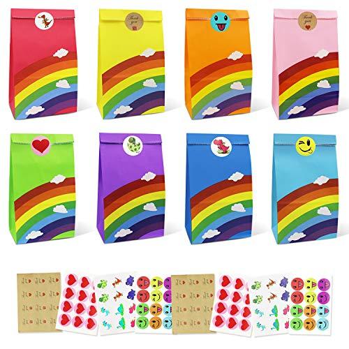 AUSYDE Papiertüten, Papier Candy Tüten 48 Stück Bunte Geschenktüten mit 96 Aufkleber Candy Tüten zum Verpacken von Geschenken, Kindergeburtstag, Giveaways, Hochzeit, Party, usw(Rainbow)
