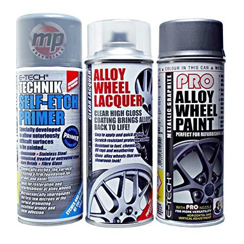 MP Essentials Alloy Wheel Restore Refurbishment Repaint Pack   Alloy Wheel Primer, E-Tech Pro Paint Spray & Sealing Lacquer (Metallic Graphite Grey)