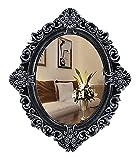 QHHALXZ Espejo de Maquillaje Espejo de tocador de baño Espejo Ovalado Espejos de Pared Decorativos de Estilo Barroco, 59x60 CM, Espejo de baño Plateado Vintage