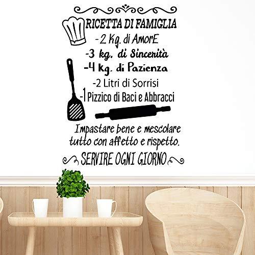 Adesivo da parete in vinile con frase in italiano'RICETTA DI FAMIGLIA' adesivi murali frasi in italiano citazione, decorazione da parete, Wall Stickers, Art Sticker Decal Mural DC-19004