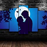WHYQZ Cuadro En Lienzo 5 Piezas Impresión En Lienzo Arte de Pareja de Amantes Decoracion Salon Modernos Dormitorio Impresión Pintura Moderna Arte del Hogar Regalo Listo para Colgar