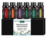 Natural kit aceite escenciales aromaterapia, humificador, vaporizador, Masajes difusor de aromas, esencias, velas, SPA, set aceites Caja de Regalo (Rosa, Lavanda, Árbol de Té, Menta, Limon, Naranja dulce, 6 x 10 ML)