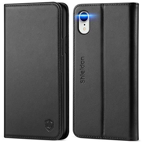 SHIELDON iPhone XR Hülle, Handyhülle [Erstklassiges Echtleder] [Schützt vor Stoß] [RFID Schützt] [Kartenfach] [Magnet] [Standfunktion], TPU Schutzhülle Lederhülle Kompatibel für iPhone XR 6,1 Schwarz