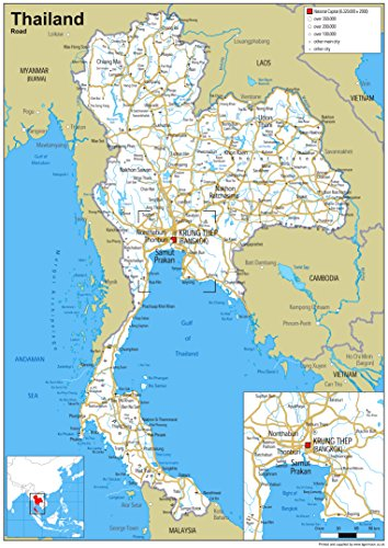 Thailand Straßenkarte – Papier laminiert (A0 Größe 84,1 x 118,9 cm)