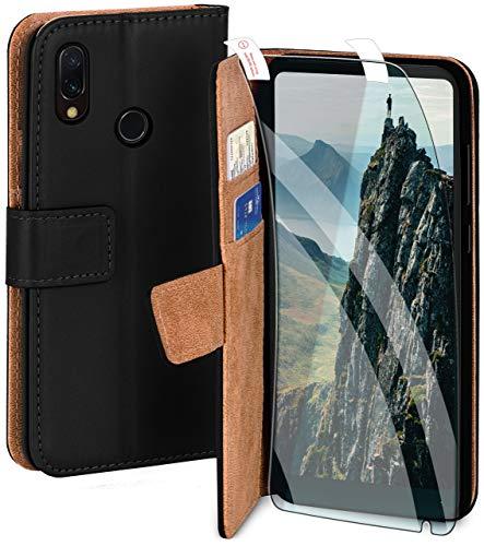 moex Handyhülle für Xiaomi Mi Mix 2S - Hülle mit Kartenfach, Geldfach & Ständer, Klapphülle, PU Leder Book Hülle & Schutzfolie - Schwarz