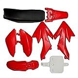 GOZAR 50Cc 110Cc 125Cc 140Cc Plástico 4 Tiempos Crf50 Pit Bike Set Guardabarros Asiento - Rojo