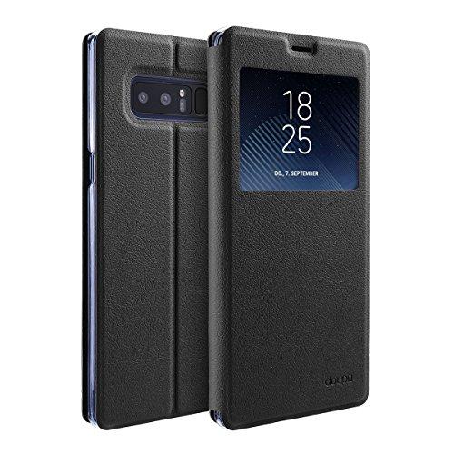 doupi FlipHülle für Samsung Galaxy Note 8, Deluxe Schutzhülle mit Sichtfenster Magnet Verschluss Klappbar Book Style Aufstellbar Ständer, schwarz