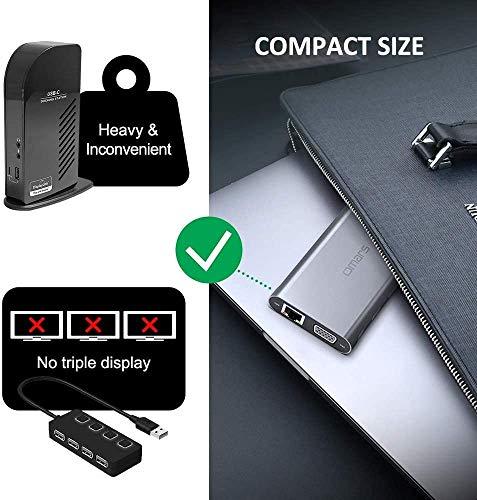 Omars USB C Hub Docking Station 11-in-1, Triple Display (Dual 4K HDMI&VGA), Multiport USB C Adapter mit 1Gbps Ethernet LAN, 4 x USB, SD/TF Kartenleser, 100W PD für MacBook Pro Air Dell XPS HP