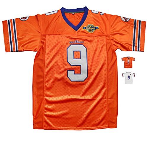 Eway Waterboy Football Jersey,Micjersey Stitched #9 Bobby Boucher 50th Anniversary Movie Football Jerseys S-XXXL (Orange, M)