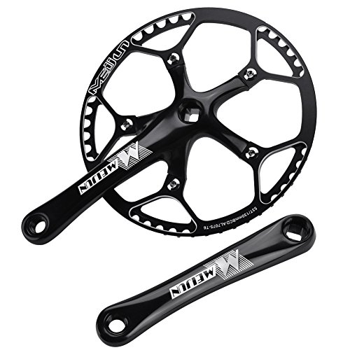 Alomejor Fahrrad Kurbel Set Fahrrad Kurbelgarnitur Aluminiumlegierung Kurbel Set Integral Single Speed Kurbel Set für Outdoor Mountainbike Radfahren(Schwatz)
