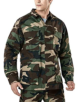 CQR Men's Lightweight Tactical Performance Combat Outdoor EDC Assault Jackets, BDU Jacket(ubk01) - Woodland Olive, Large