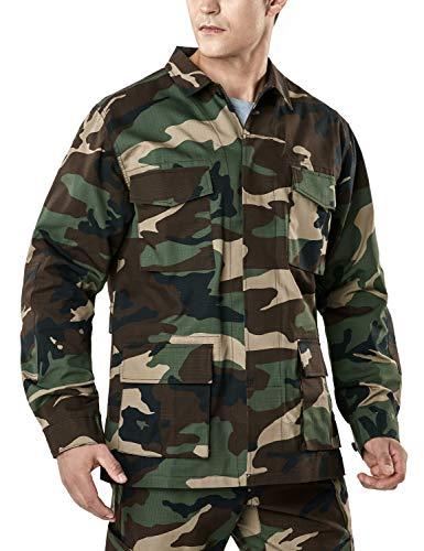 CQR Men's Lightweight Tactical Performance Combat Outdoor EDC Assault Jackets, BDU Jacket(ubk01) - Woodland Olive, Large