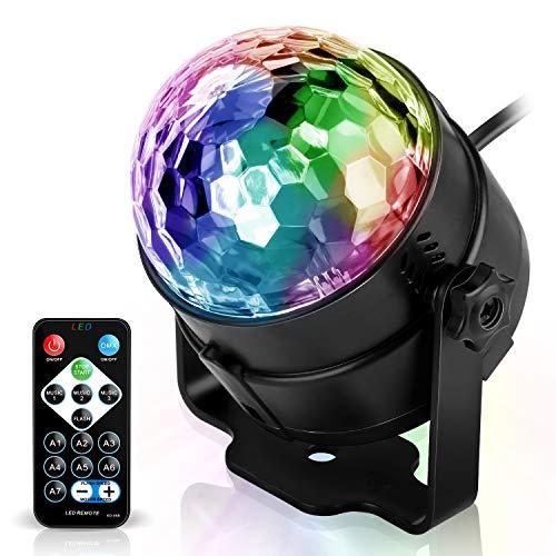 Spriak Discokugel Discolicht Partylicht Disco Licht Lichteffekte 7 Farbe Musikgesteuert LED DJ Licht Partybeleuchtung Party Lampe für Halloween...