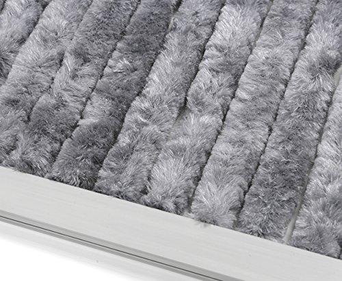 Beautex Gardinen Türvorhang Flauschvorhang Chenille 90x220 cm inkl. Tasche, Campingvorhang Insektenschutz, Farbe wählbar (Grau Uni)
