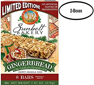 Sunbelt Bakery Gingerbread Chewy Granola Bars, 1.0 oz Bars, 8 Count Per Box, 2 Boxes