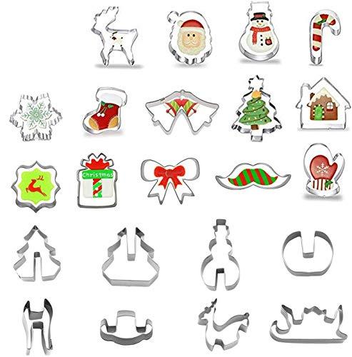 CHARLLEAN 22 stücke Weihnachten Stück Ausstechformen Ausstecher Set, 14 Stück Keksausstecher und 8 Stück 3D Ausstechformen Set aus Edelstahl Kuchen Keks Formen Set DIY Form Küche Backen Werkzeug