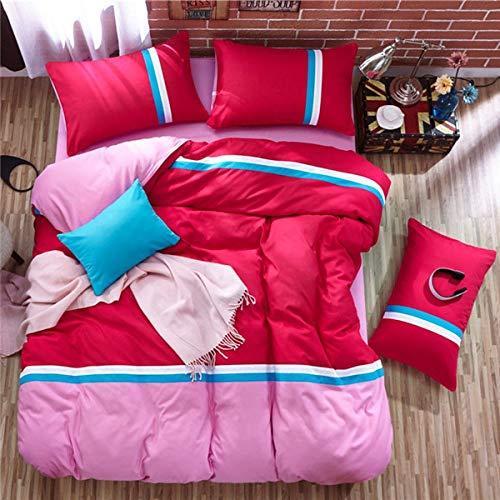 Juego de cama de 4 piezas de algodón para cama de tres piezas, diseño de celosía de algodón, color rojo, rosa, funda de edredón transpirable, funda de almohada, sábana completa, tamaño King, 180 x 22