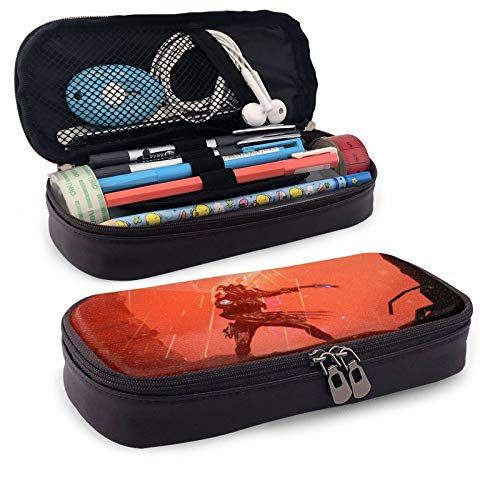 Warframe Leather Pen Case Holder Cosmetic Double Zipper Bag for Adults Girls Boys School Office