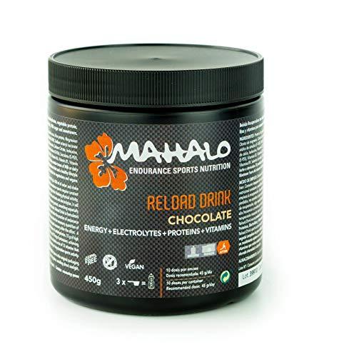 MAHALO RELOAD DRINK 450 g. Bebida recuperadora (Recovery) con Proteína vegana, Carbohidratos, Electrolitos, Vitaminas y Minerales para consumir después de la actividad física. (10 dosis) (Chocolate)