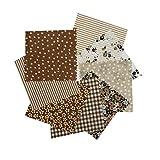 Tela de algodón 8pcs / Set para el Tejido de Costura de Costura de Tejido de remiendos de casa Tela de algodón de Tilda Serie Rosa Tela de Cuerpo de muñeca, 9.8' x 9.8' (25cm x 25cm),Brown series