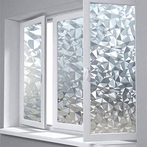 Emmala melkglasfolie raamfolie geometrische driehoek ijskristallen statische lijmloze glasfolie Home unicaat raamsticker voor badkamer kantoor vergadering Living Room3D decoratiefolie 80X100Cm