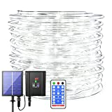 Solar Rope Lights Outdoor Waterproof - 72ft 8 Modes 200LED Solar Powered Outdoor Rope Lights with Remote LED White Rope Lights Flexible Solar Tube Fairy Lights for Pool Fence Tree Path Garden Wedding