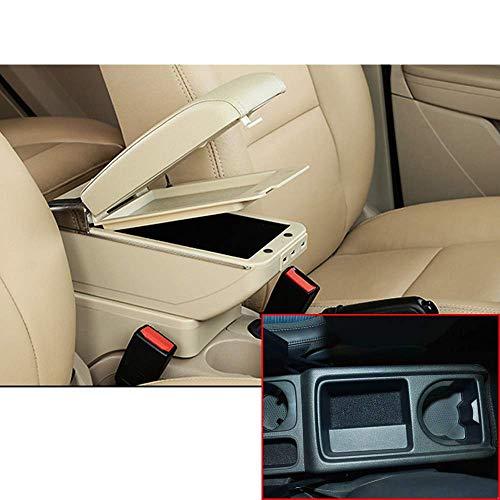 para Vol&kswagen Tiguan 2009 2010 2011 2012 2013 2014 2015 2016 2017 Capa Doble del Resto del Brazo del Coche Consola Central con 7 Puertos USB (Color : Beige)