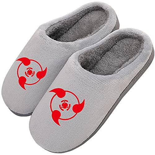 Zapatillas de Estar en Casa Hombre Mujer Cosplay Anime Japonés para NARUTO Sharingan Invierno Cálido Forro de Felpa Pantuflas Espuma de Memoria Zapatos con Antideslizante Suela,Gris,43/44EU