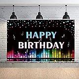 Mengxin Fondo de Fiesta de Cumpleaños Pancarta Feliz Cumpleaños Notas Musicales Decoración para Fiesta de Cumpleaños Accesorios Cumpleaños para Niños Niñas Adultos