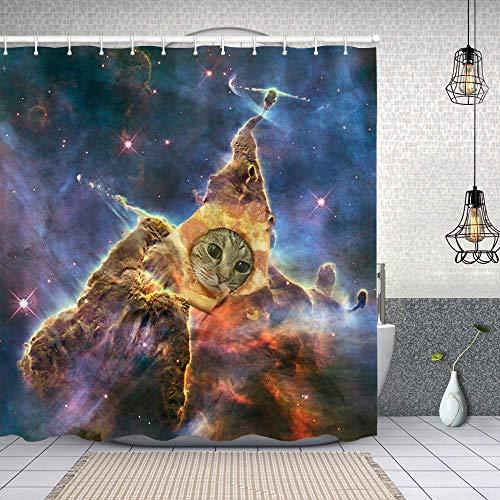 Duschvorhang,Katze mit Pizza,Enthält 12 Duschvorhanghaken waschbar,Wasserdicht Bad Vorhang für Badezimmer Badewanne 180X180cm