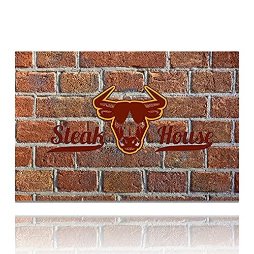 LILENO HOME Grill u. BBQ Matte (75 x 120 cm) Steakhouse Stone - als perfekte bodenschutz Unterlage für Gas u. Holzkohlegrill - Grillunterlage Bodenschutzmatte für Familien-Grillabend auf der Terrasse