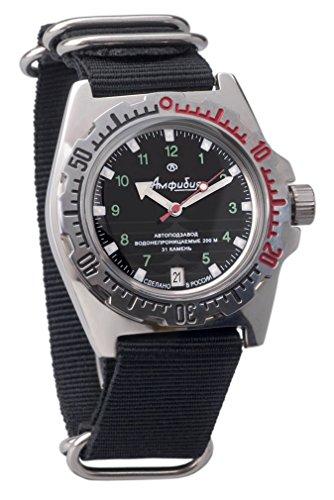 Vostok Militar Ruso Diver para Hombre de Anfibios Amphibia Reloj de Pulsera Nailon Negro # 11269