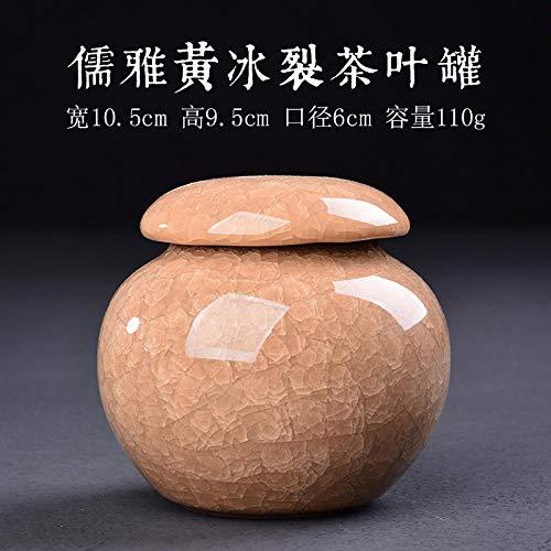GBCJ Accesorios para Juegos de té Tetera sellada Tetera cerámica Caja de té almacén de té Tanque de Almacenamiento de Viaje-Ruya Amarillo-Hielo Tetera Agrietada jnkdkd2331