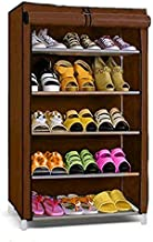 G-KAMP Multipurpose Portable Folding Shoe Racks for Home Organizers Collapsible Shoe Stand (Brown, 5 Shelves)