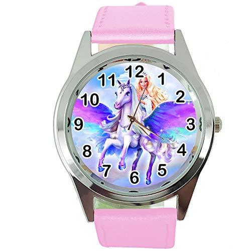 TAPORT® Magic Pegasus Runde Quarzuhr rosa Lederband